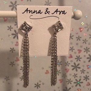 Anna & Ava earrings silver with drop chain 💎💝